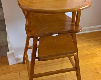 Marching Band Teddy Bear Vintage Wooden Baby High Chair     1950u0027s Baby  Shower Nursery