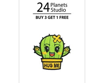 Mini Cactus Hug Me - Yellow Iron on Patch by 24PlanetsStudio