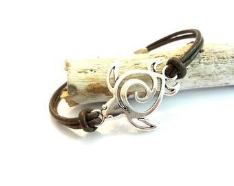 Turtle Bracelet, Sea Turtle Jewelry, Cool Beach Bracelet, Brown Leather Wrap Bracelet, Beach Jewelry, Gift or Her, Cool Jewelry, Turtle Gift