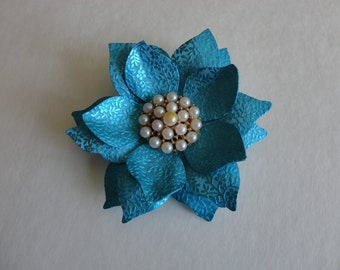 VINTAGE 1960s blue anodized aluminum FLOWER BROOCH