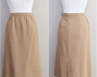 Tan Wool Skirt by JG HOOK // Vintage Brown, Camel, Skirt