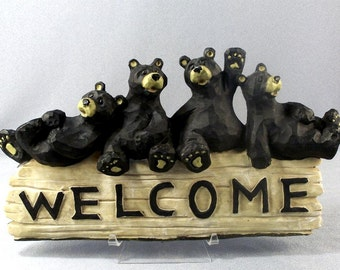 A Bunch of Bears Welcome Sign // Funny // Comical // Lazying Around // Just Waiting // For You
