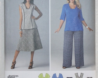 """Sz BB 20W,22,W 24W, 26W, 28W  Simplicity  Sewing Pattern 1431 Dress or Tunic, Skirt, and Pants bust 35""""-44"""""""