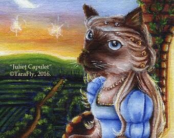 Shakespeare Cat Art, Romeo and Juliet Literary 8x10 Fine Art Print