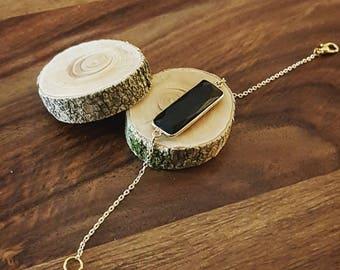 Silver - Gold Black Onyx stone bracelet