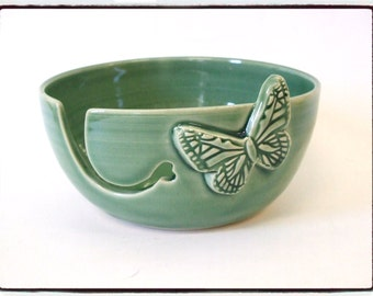Yarn Bowl with Butterfly in Just Green by misunrie