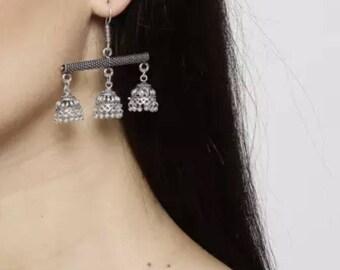 Oxidised Silver Dome-Shaped Jhumkas   Indian Jhumka Earrings