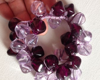 Bracelet  - unusual purple and  lilac lucite plastic large beads bracelet