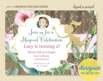 Fairy Birthday Party Invitation with photo // Garden Fairy Printable Printed Invites // Photo, Glitter, Rustic, magical, whimsical birthday