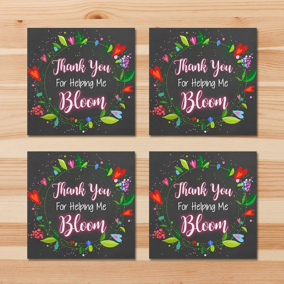Teacher Appreciation Week Tags Thank You For Helping Me Bloom - Teacher Gift Tag - Chalkboard Floral Thank You Tags - Teacher Thank You Tags