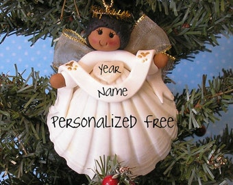 Shell Angel African American personalized Christmas Ornament