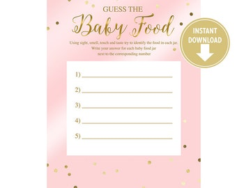 Baby Food Game Card - Pink & Gold Dots Confetti - DIY Baby Shower Games - Party Favors - Baby Girl - Instant Download