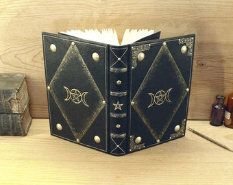 Magic Journal, Black Leather, Gold decoration - Triple Goddess - One of a kind