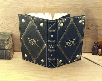 Magische Journal, schwarz Leder, Gold Dekoration - dreifache Göttin - ein von einer Art