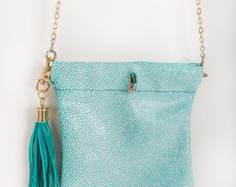 Leather Purse, Evening Bag, Aqua Leather Purse, Sting-Ray Leather Purse, Leather Bag, Leather Evening Bag, Purse