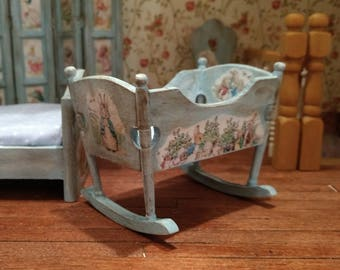 Dolls House 12th scale Blue Peter Rabbit Cradle