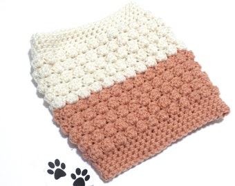 Cream Dog Scarf Neck Warmer Cowl Pet Neckwarmer Copper Pastel Chunky Dog Infinity Scarf Snood Pet Cat Dog Clothes Puppy Winter Crochet
