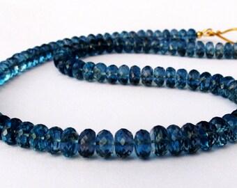 18k Gold London Blue Topaz Necklace, 18k Blue Topaz Necklace