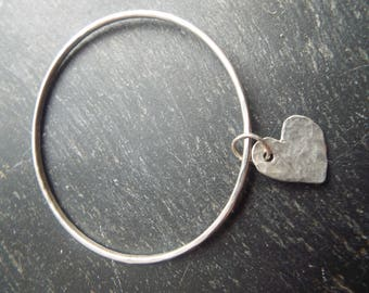 Heart Charm Silver Bangle - Eco & Sterling Silver