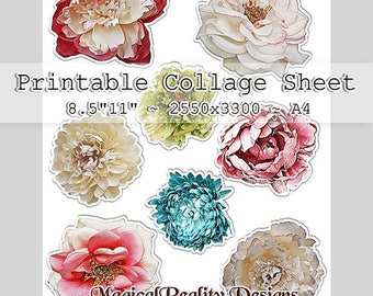 Printable Collage Sheet-Instant Download- {Flowers Set 1} -  8.5x11 - A4 - Spring Flowers-Florals-Roses-Card Making-DIY