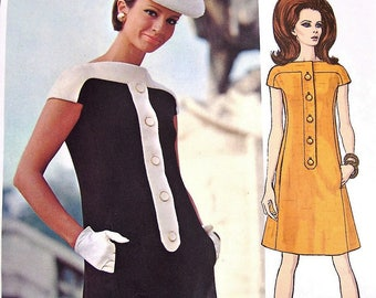 60s MOD Laroche Dress Pattern VOGUE PARIS Original 1950 Casual  or After 5 Dress Bust 36 Vintage Sewing Pattern