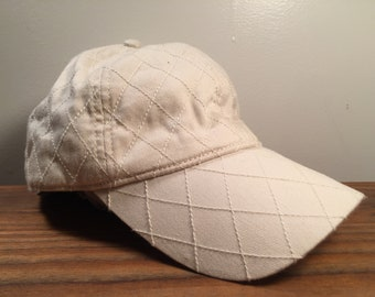 90s Vintage Cross-Pattern Texture White Hat