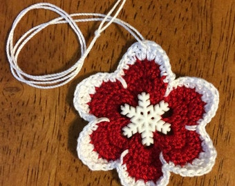 Red & White Crocheted Ornament with Snowflake