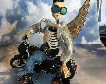Bad Ass Angel With Head Tatoo on a Motorcycle /Day of the Dead-Figurine- Ornament- Diorama