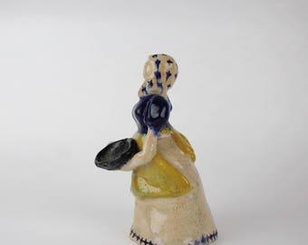 Vintage Pottery Americana Pilgrim Woman Figurine Holding Bowl - Folk Art Early Settler Woman in Dress and Apron