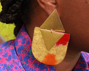 Burning Sky: Patterned Paper On Wood Earrings With Painted, Gold Detail, Gold Leaf and Raw, Brass Triangles