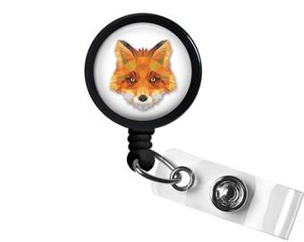 Geometric Fox Photo Glass/ Bottle Cap Retractable ID Badge Reel
