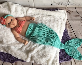 Baby Mermaid Set - Newborn Mermaid Tail - Baby Mermaid Outfit - Baby Photo Outfit - Newborn Photo Prop - Baby Shower - Baby Mermaid Costume