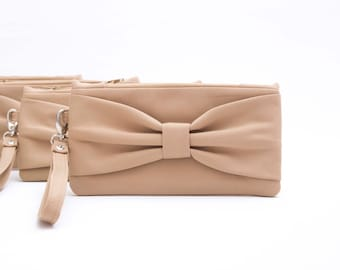 Tan bridesmaid clutches  ,bow wristlet clutch,bridesmaid gift , clutch,set of 1,2,3,4,5,6,7,8,9,10,11,12,piece 9.90 USD