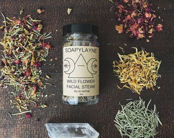 FACIAL STEAM, wild flower facial steam 4oz. vegan detox