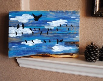 Birds on a Wire Original Painting on Reclaimed Wood