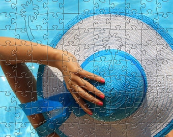 Blue Hat Zen Puzzle - Hand crafted, eco-friendly, American made artisanal wooden jigsaw puzzle