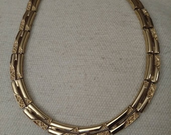 SALE Monet Plated Choker, Chain Links, Shiny and Textured, Gold Tone, Excellent Vintage Condition, FREE SHIPPING