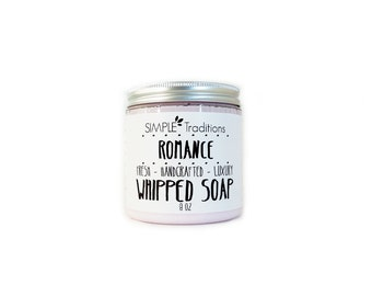 Whipped-Soap | Fluffy Soap | Soap in a Jar | Floral Scent | Romance Luxury Soap | Whip Soap | Vegan Whipped Soap | Gift for Her | 8 oz