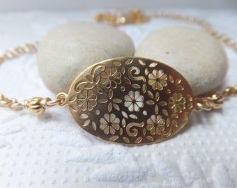 Matt Gold Flower Pattern Oval Bracelet with optional extension