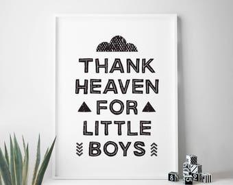 Thank Heaven For Little Boys room decor nursery print black and white nursery printable wall art quote monochrome print illustration kids