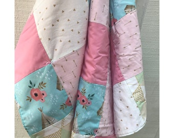 Crib/Toddler pink blue gold quilt