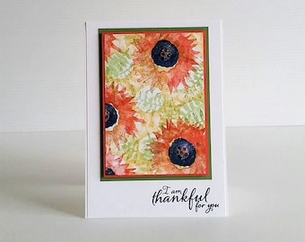 SUNFLOWERS CARD, flower card handmade card, colorful floral card, orange sunflowers, orange yellow blue green, limited edition by eidercraft