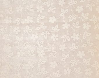 Floral Fabric, White on White, Calico Fabric, Tone on Tone, White Floral Fabric, White Floral Fabric, 01210A