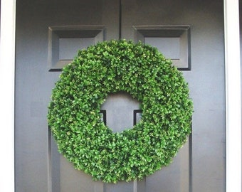 SUMMER WREATH SALE Faux Boxwood Wreaths- Boxwood Decor- Year Round Wreaths- Spring Wreath Decor- Wall Art- Sizes 16-26 inches