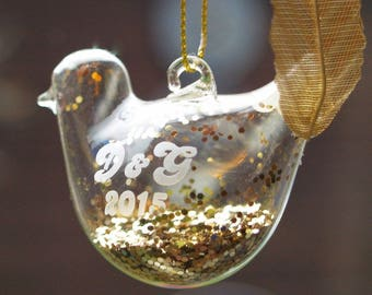 Bird of Cheer Christmas Tree Hanging Decoration - with personalised engraving