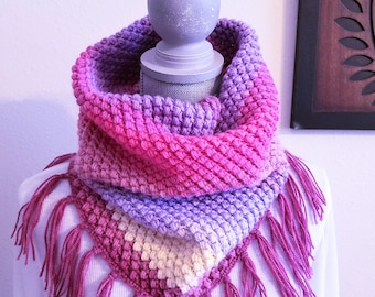 Spring Bean Cowl in Shades of Pink and Purple