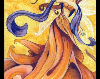 Wind Fairy Fine Art Print // Fantasy Elemental Fae Air Fairie Watercolor Painting by Heather Reid