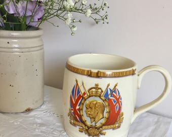 1935 vintage coronation mug for Queen Mary and king George V