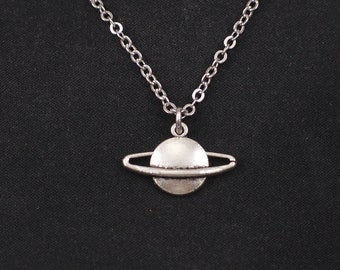 planet saturn necklace, sterling silver filled, silver planet charm, space galaxy charm, planet necklace, saturn jewelry, birthday gift
