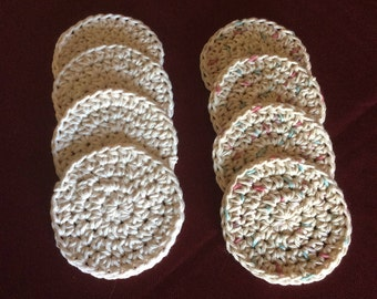 "Crocheted Facial Scrubbies, Set of 4 Facial Scrubbies, 3.5"" diameter"
